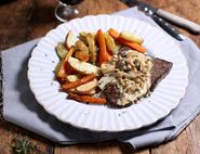Minute Steaks & Chips with Wild Mushrooms Sauce