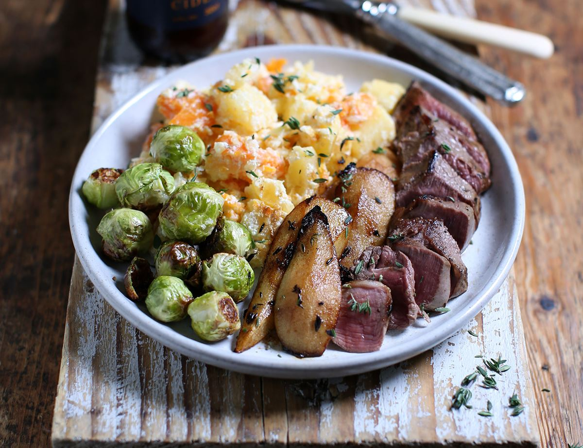 Venison Steaks with Balsamic Pears & Swede