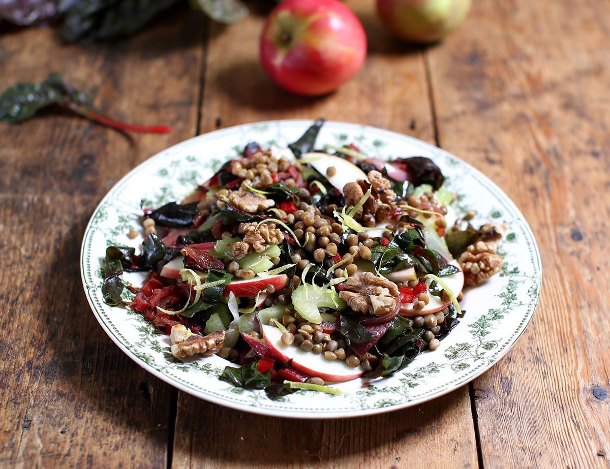 Rainbow Chard Apple Walnut Salad Recipe Abel Cole