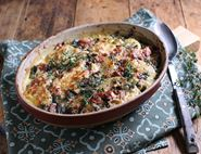 Festive Ham, Cheese & Greens Gratin