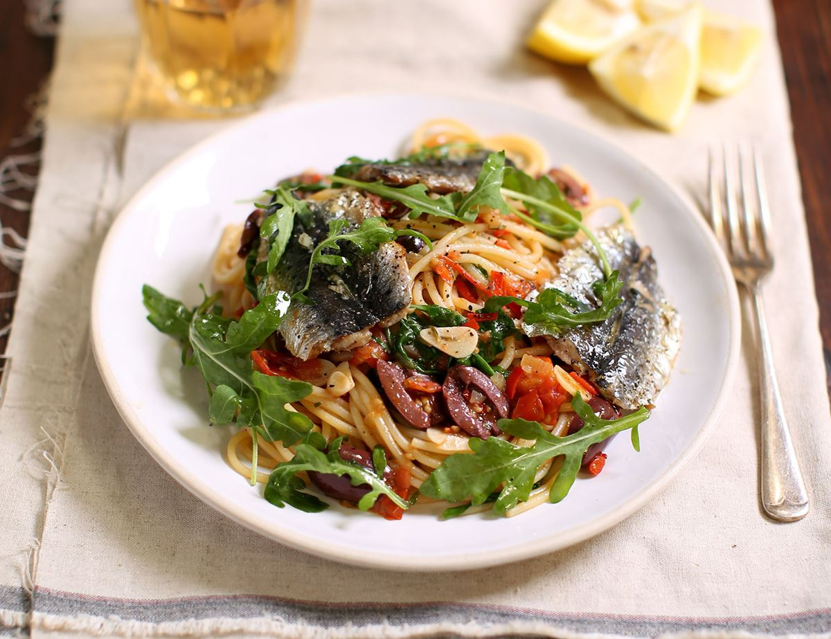 Grilled Sardines with Tomato, Rosemary & Olive Spaghetti