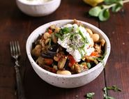 Roast Aubergines with Ricotta, Mint & Butter Beans