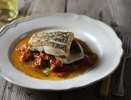 Hake with Buttery Crushed Tomatoes