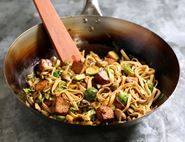 Tofu, Brussels Sprouts & Udon Noodle Stir-Fry