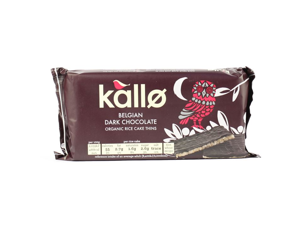 Dark Chocolate Rice Cake Thins, Kallo (90g)