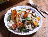 Roast Squash with Feta, Barley & Tahini