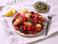 Beetroot Tagliatelle with Seared Scallops & Salsa Verde