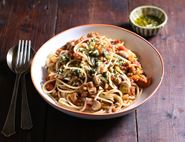 Spaghetti Lentil Bolognese with Lemon & Rosemary Gremolata