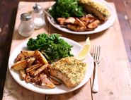 Parsley & Lemon Crumbed Salmon with Chips