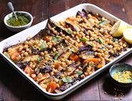 Harissa Roasted Aubergine & Chickpea Tray Bake