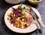 Pork Escalopes with Purple Sweet Potato Wedges & Mango Salsa