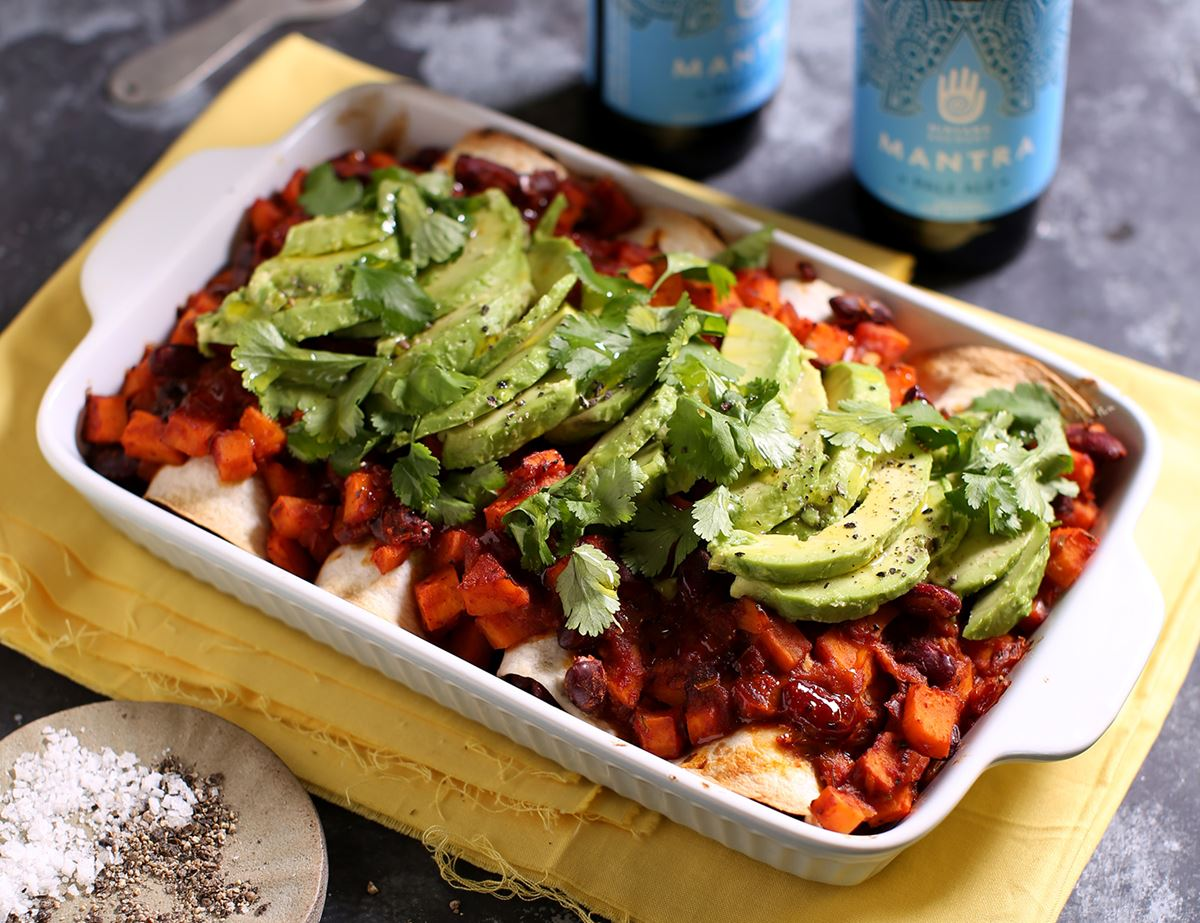 Kidney Bean Sweet Potato Enchiladas Recipe Abel Cole