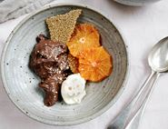 Blood Oranges With Whipped Chocolate Ganache, Cream & Sesame Brittle