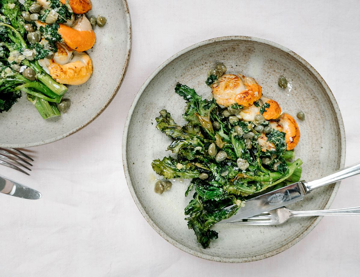 Pan Fried Scallops With Purple Sprouting Broccoli & Lemon, Caper, Parsley Butter