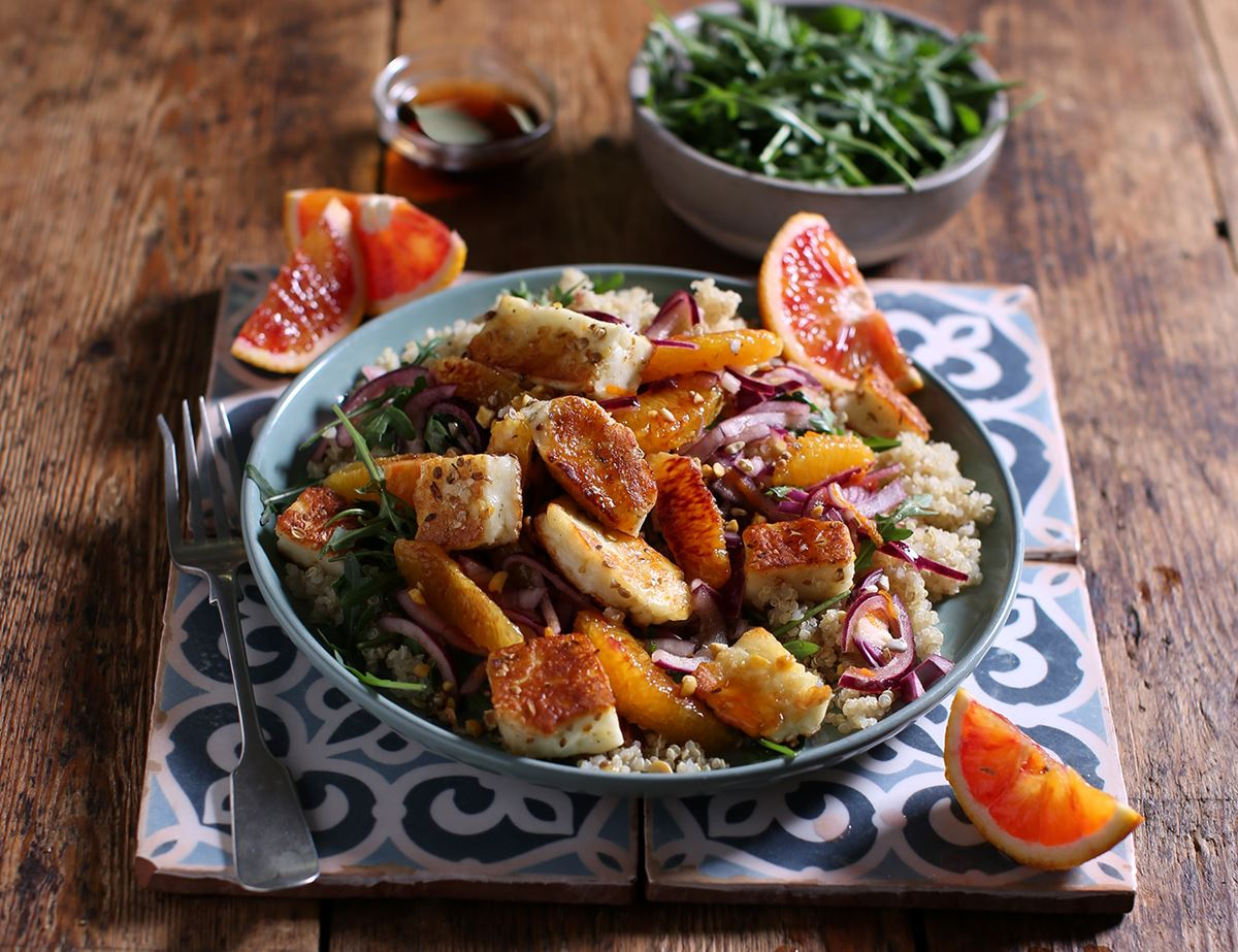 Dukkah Crusted Halloumi with Blood Oranges & Quinoa