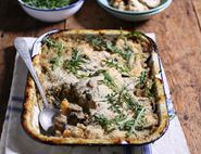 Cheesy Cheddar, Sweet Potato & Mushroom Bake