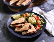 Cheese & Black Bean Quesadillas with Mango Salsa