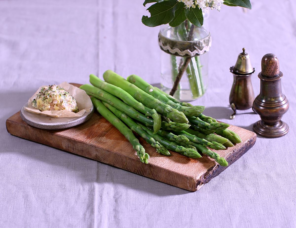 Asparagus with Pickled Shallot & Tarragon Butter