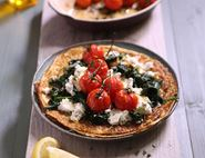 Pancakes with Roast Tomatoes, Spinach & Ricotta
