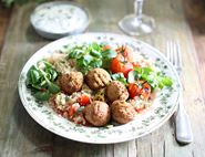 Falafels with Minty Yogurt & Couscous Salad