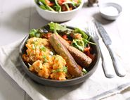Tofu Sausages with Sweet Potato Champ