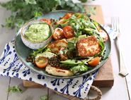Grilled Halloumi & Bean Salad with Avocado Dressing