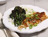 Miso Buttered Haddock with Purple Sprouting Broccoli
