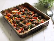 One Pan Meatball & Sweet Potato Roast