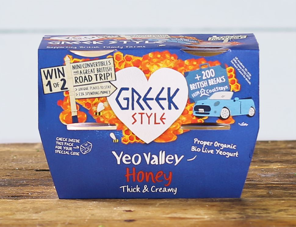 Greek Style Yogurt with Honey, Organic, Yeo Valley (4 x 100g)