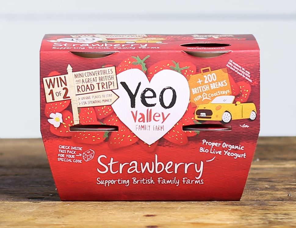 Strawberry Yogurt, Organic, Yeo Valley (4 x 120g)