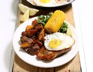 Maple Pork Escalopes, Sweet Potato Chips & Fried Eggs