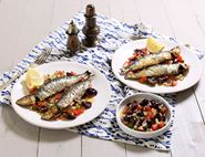 Grilled Sardines with Greek Salad Salsa
