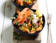 Loaded Chips with Smoked Salmon & Sweetcorn