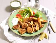Cajun Chicken Nuggets & Chips with Soured Cream Dip