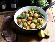 Golden Scallops with Sprouts & Nduja