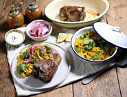 Griddled Mutton Chops with Turmeric & Coriander Rice