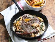 Minute Steaks & Chips with Chanterelle Mushrooms