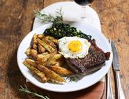 Steak, Egg & Chips with Mustard Greens