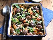 Saucy Meatball & Potato Tray Bake