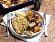 Oven Baked Pork Schnitzel with Rosemary Roasties