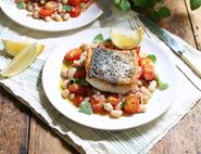 Pan Fried Sea Bass with Italian Beans