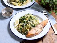 Roast Salmon with Buttery Spinach Spaghetti
