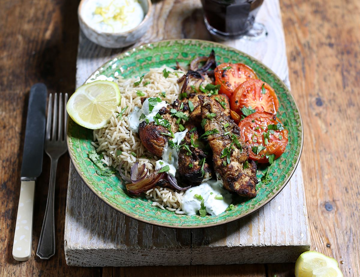 Grilled Moroccan Spiced Chicken with Yogurt Sauce & Rice