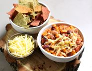 Cheesy Sweet Potato & Bean Chilli with Tortilla Chips