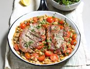 Pork Escalopes with Tomato Braised Beans
