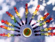 Rainbow Fruit Kebabs with Ginger & Basil Drizzle