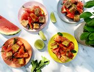 Salt & Pepper Tofu Nuggets with Hot & Sour Watermelon Salad