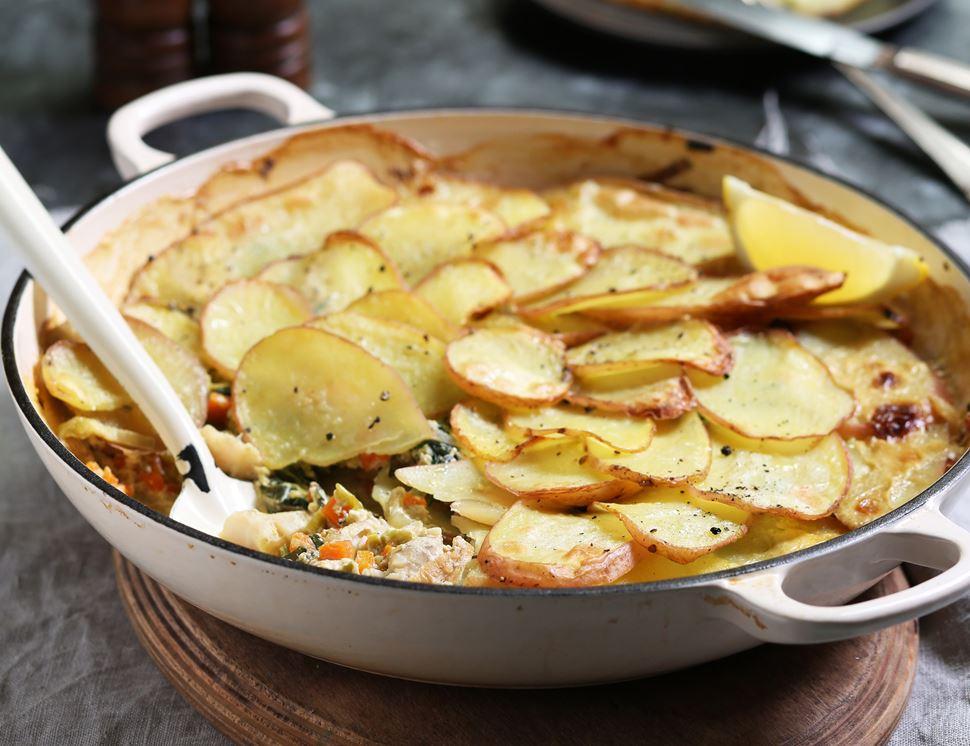 Crispy Sliced Potato Fish Pie Recipe Abel Amp Cole