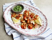 Barbecued Scallop Skewers with Salsa Verde