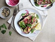 Barbecued Aubergines with Labneh & Seeds
